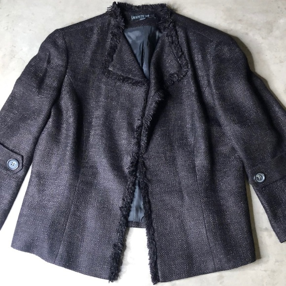 Lafayette 148 New York Jackets & Blazers - Lafayette 148 Black Tweed Blazer Frayed Edges
